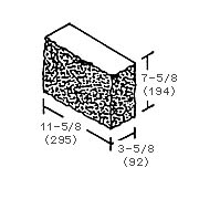 "4"" Three-Quarter Return Corner Solid Rockface Block - Dry"