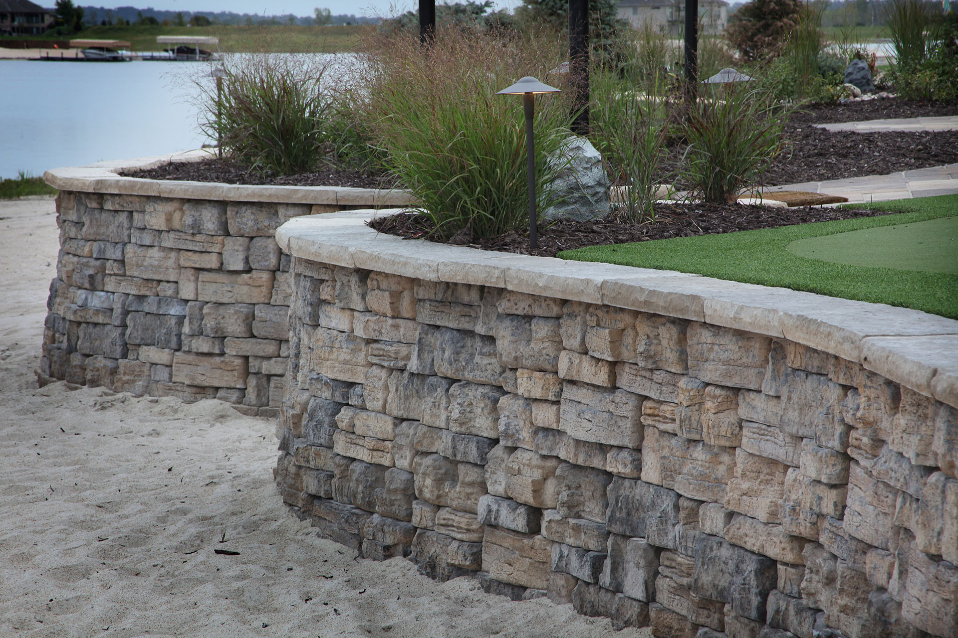 Retaining walls project type watkins concrete block Cinder block retaining wall